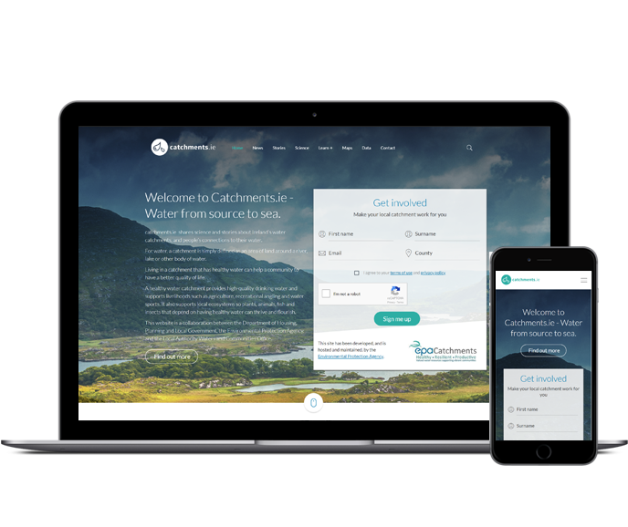 Catchments Website - Designed and built by Human